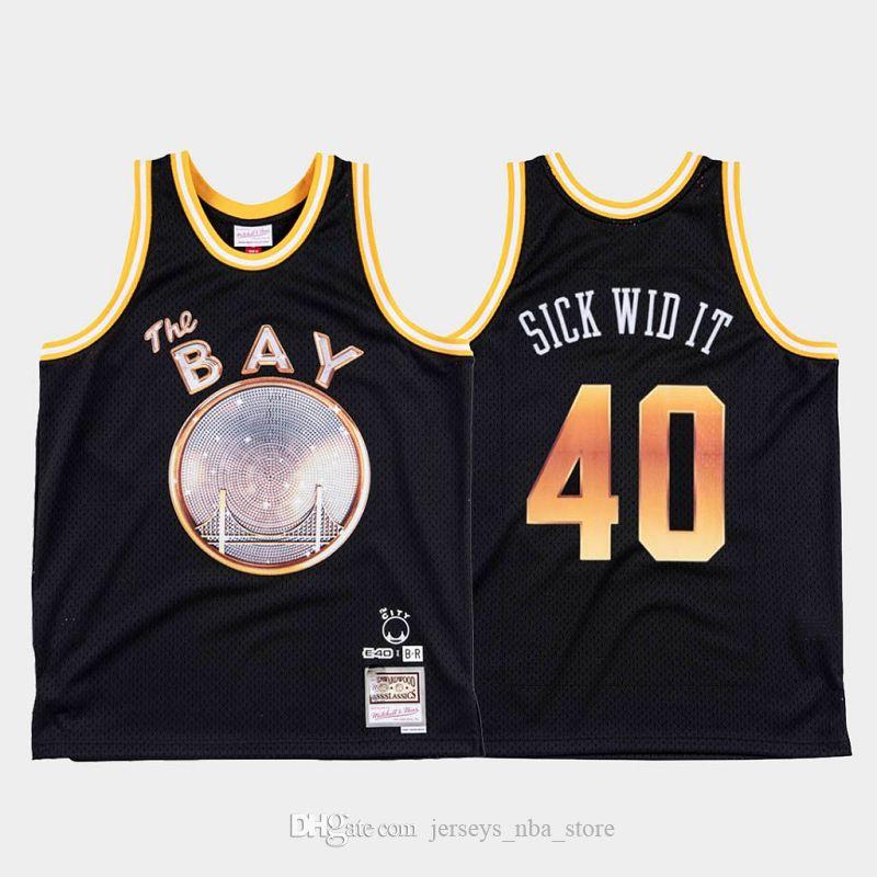 E-40 x Goldener ZustandKriegerMänner krank Wid IT # 40 Limited Edition Basketball Jersey