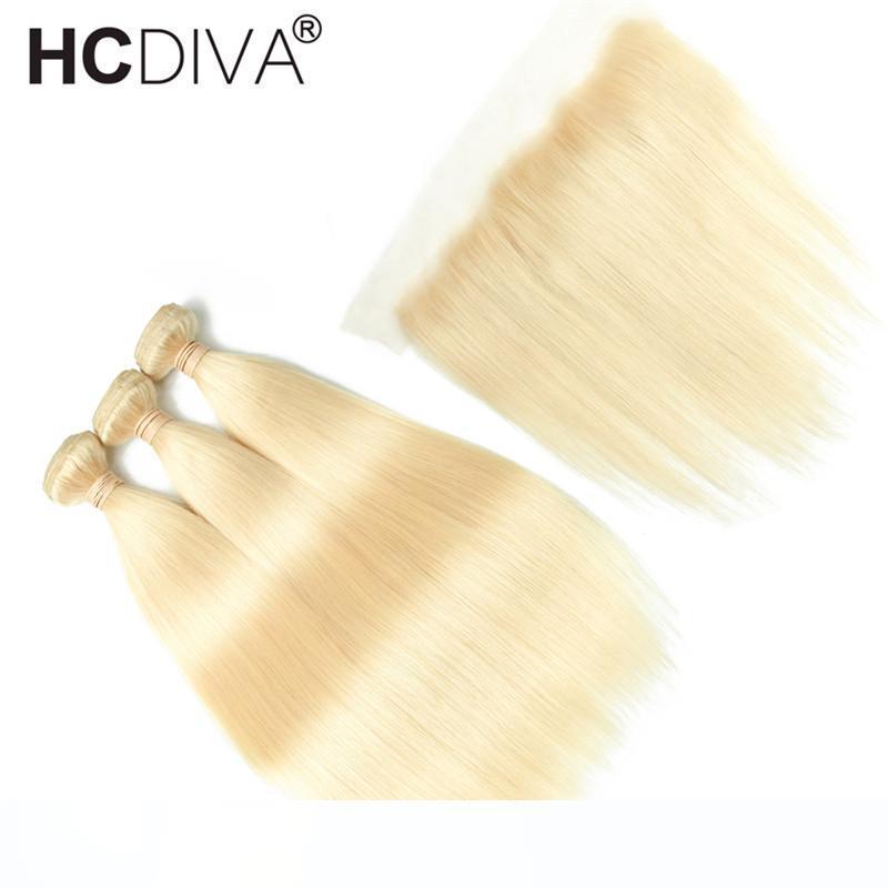 Перуанский волос девственница Связки с Closures 613 Blonde Связка с Фронтальными 10-30 дюймов прямого человеческих волос 3 Связка с 4 * 4 Закрытием HCDIVA