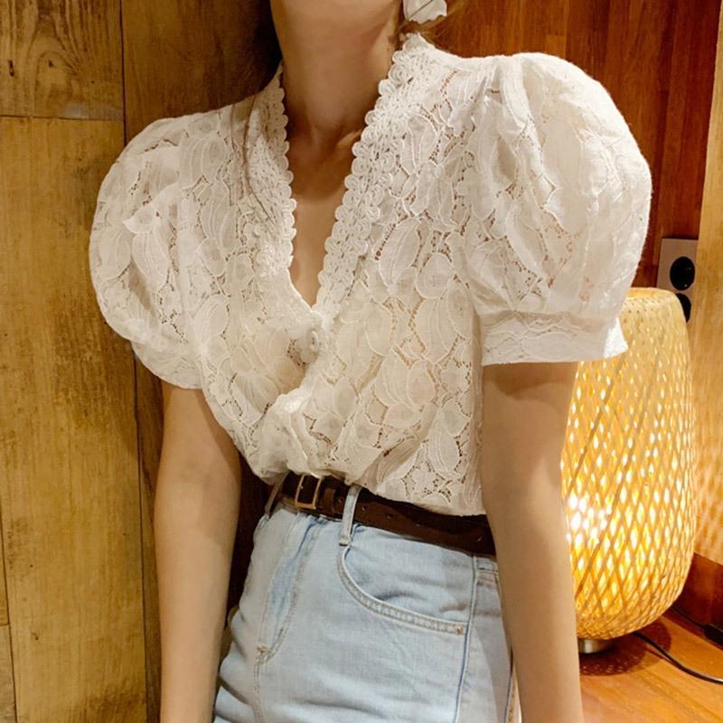 0MYFv 2020 Korean chic Sommer Allgleiches süße Alter mindernde schicke Spitze Blase Kurzarm-Shirt mit V-Ausschnitt Kurzarm-Shirt