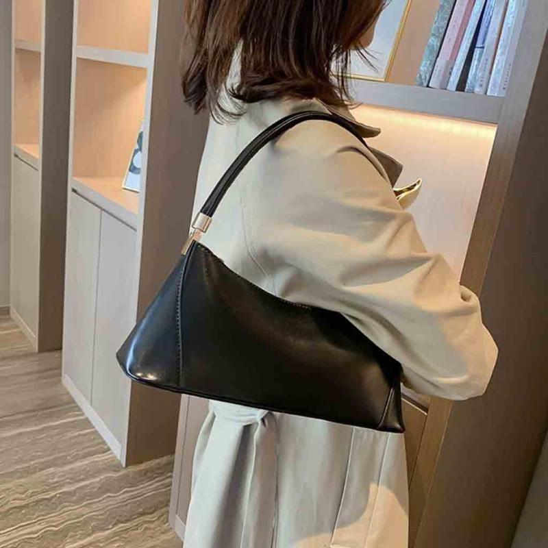 Borse da borse da borsa retrò Baguette Donne Mujer Borse SAC per Pelle 2020 Zipper Borse a tracolla Messenger Bolsa PU Streetwear Solid THHPT