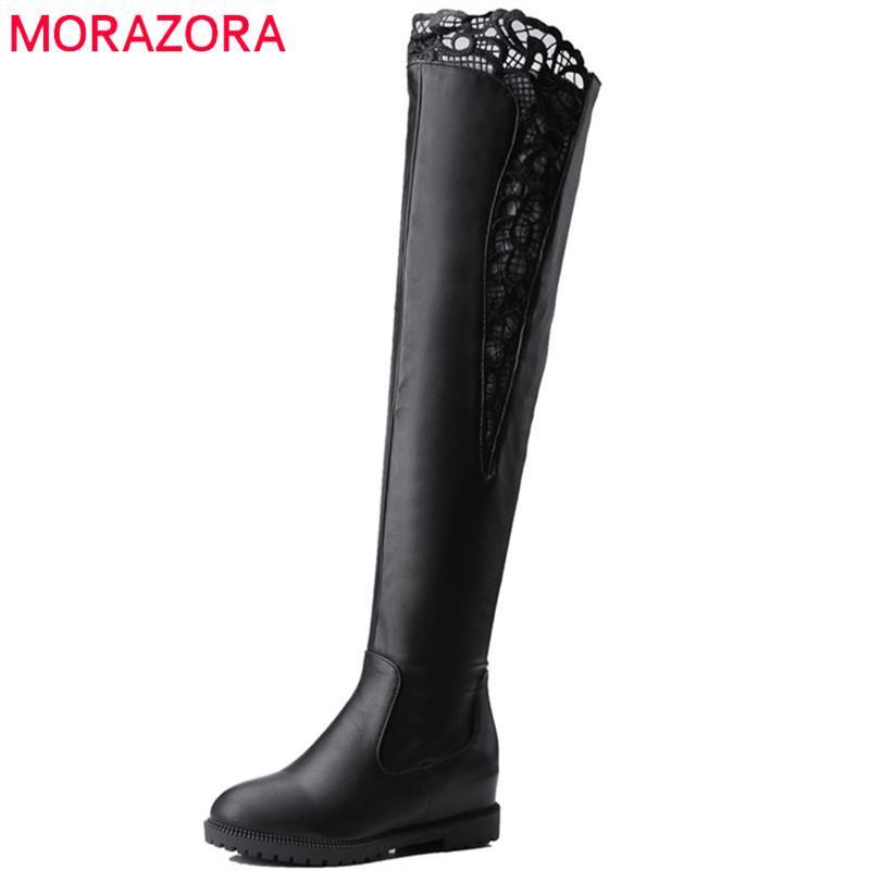 2020 новое прибытие бедра высоко над коленами ботинок женщинами круглого носок пу осень зима сапоги твердых цветами клинья обувь woman210