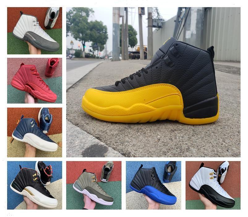 أحذية جديدة Jumpman 12S كرة السلة جامعة الذهب الأسود 12 حذاء أسود أبيض 12S عكس الإنفلونزا لعبة قزحي الألوان أحذية المدربين الشروق الرجال
