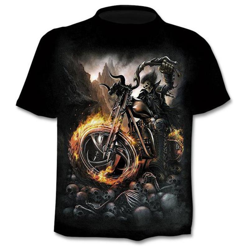 Montar uma camisa de impressão t do crânio da motocicleta 3D Homens Mulheres tshirt Verão Casual manga curta O pescoço Streetwear TopsTees S-6XL Popular