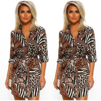 Летняя мода новый горячий продавать отворот с длинным рукавом печати рыхлые пригородной улицы платья женщин