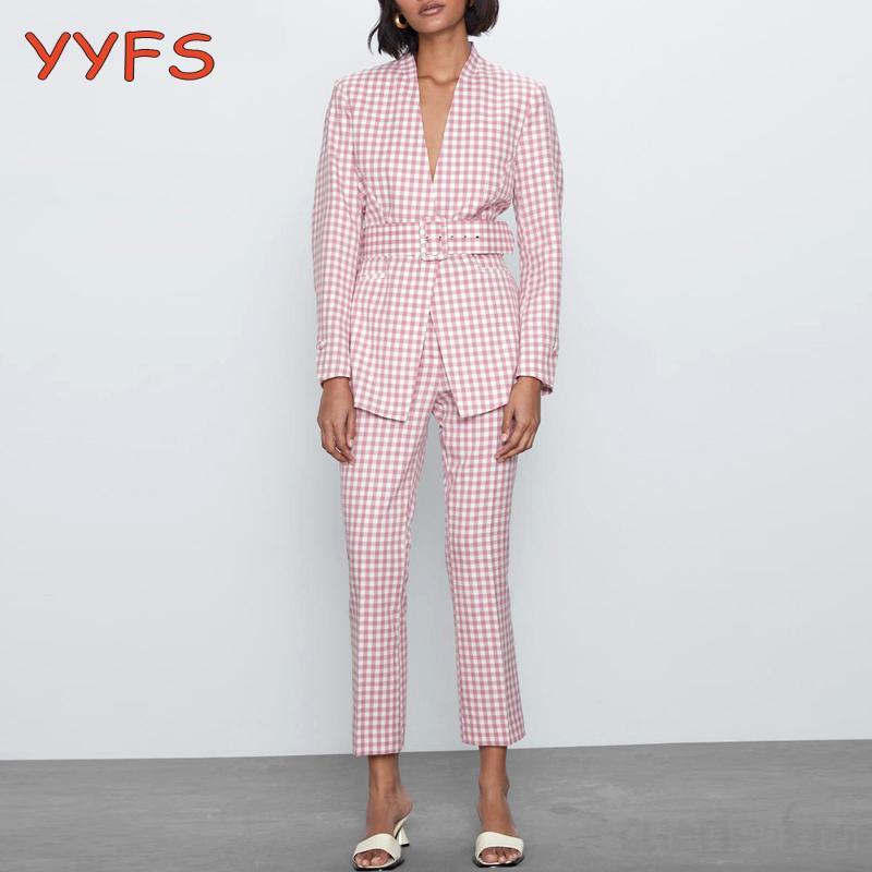 المرأة اثنان قطعة السراويل الوردي خمر منقوشة البدلة المرأة مثير الخامس الرقبة حزام السترة معطف + مشاعل بنطلون أنثى 2021 مكتب عارضة مجموعة