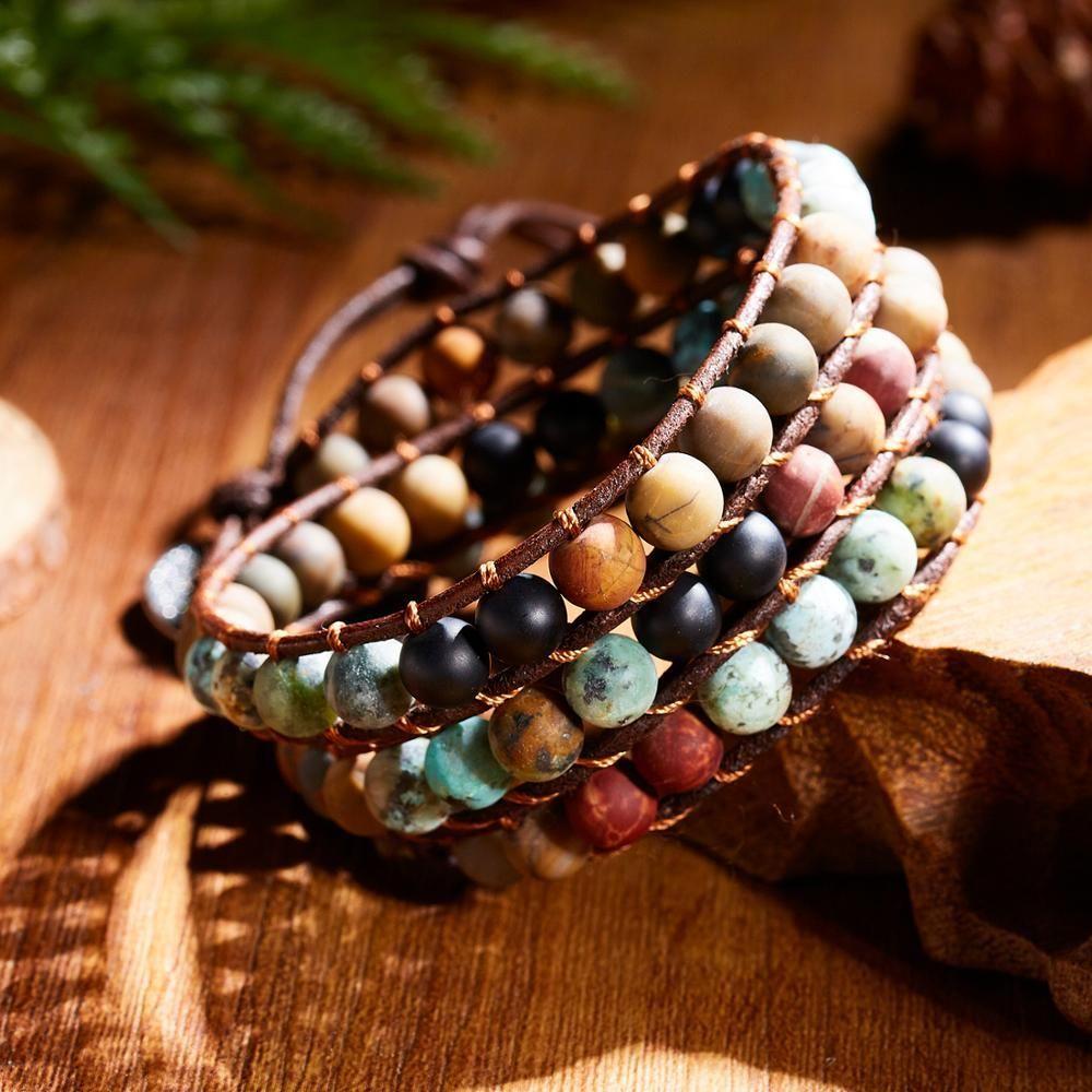 La moda de joyería de la vendimia 1PC Rinhoo Cadena Tejido ajustable cuerda Cuentas de piedras naturales pulsera de la Mujer de regalo