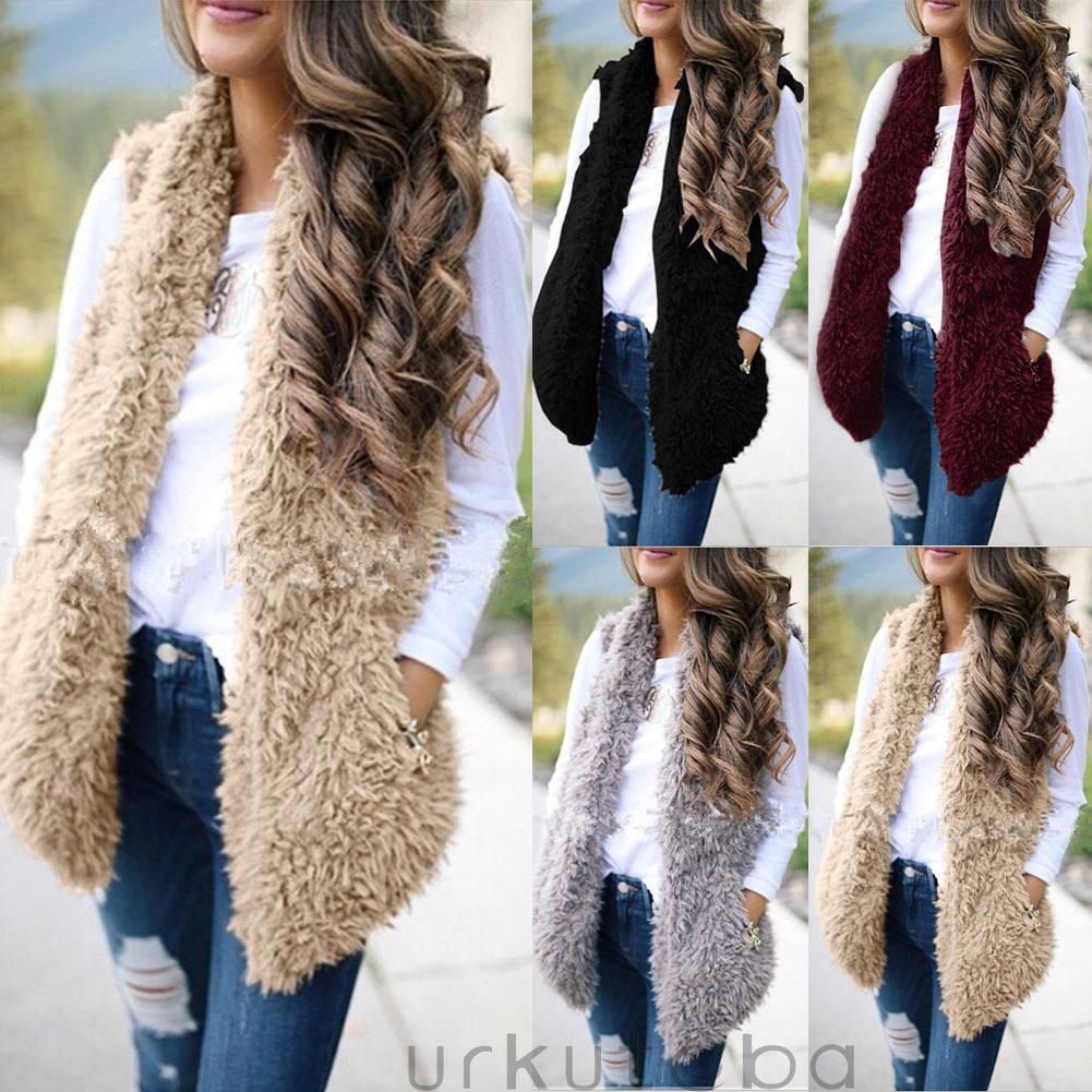 4 컬러 S-XXL 여성 여성 따뜻한 Gilet 착실히 보내다 조끼 가짜 모피 조끼 캐주얼 느슨한 재킷 코트 58282274964698