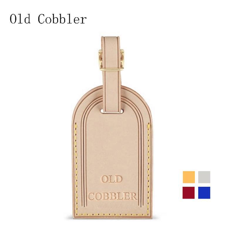 Eski Cobbler Bagaj etiketi Gerçek Deri Kişiselleştirilmiş baş harfleri sıcak en kaliteli ücretsiz teslimat damgalama ekle