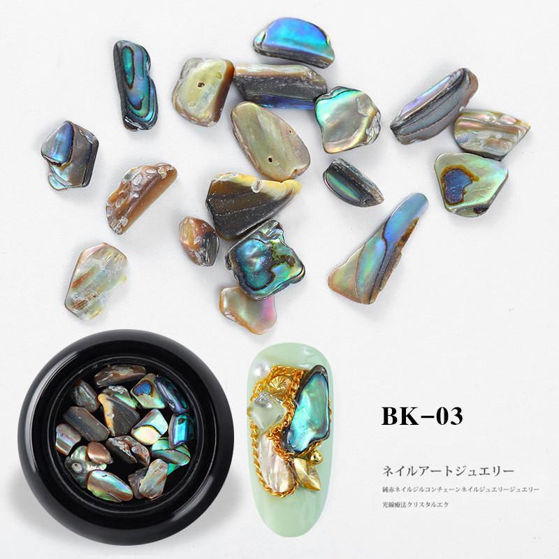 Recuérdame 1Box 3D Shell irregolare Nail di arte della decorazione Gel UV Flake Slider Nails Shimmer Pearl Jewelry Suggerimenti Manicure