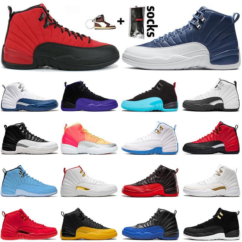 Новый Jumpman 12 Мужские Баскетбольные Обувь 12S The Dark Concord Серый грипп Fiba Мужские Тренеры Кроссовки Спорт Размер 40-47