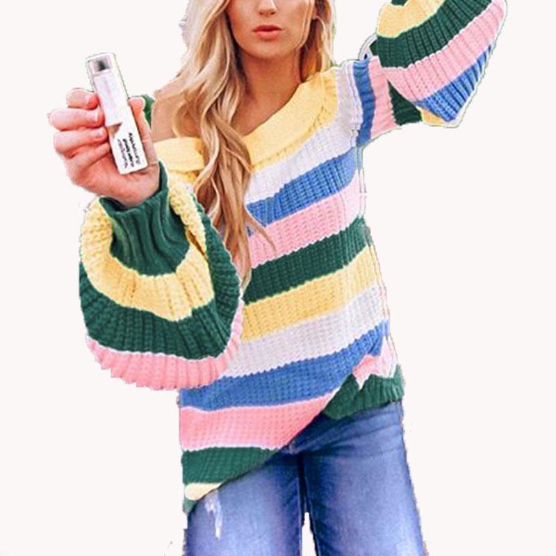 2020 Sexy otoño jersey de punto Tops juego de la manera ocasional del suéter de las mujeres del hombro de rayas con capucha de manga larga Camisetas