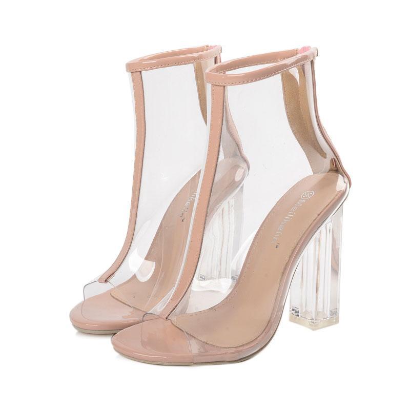 высокий каблук молнии сандалии женщин с открытым носком кристалл сандалии пляжа женщина хрустальные высокие каблуки женщин прозрачные туфли для женщин