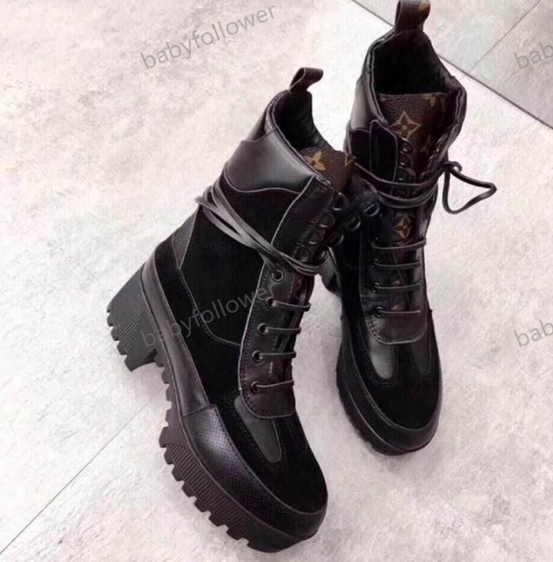 Yüksek Kış Kaba topuk kadın ayakkabı tasarımcısı Desert Boots% 100 gerçek deri Moda lüks botlar Büyük Martin botları topuklu