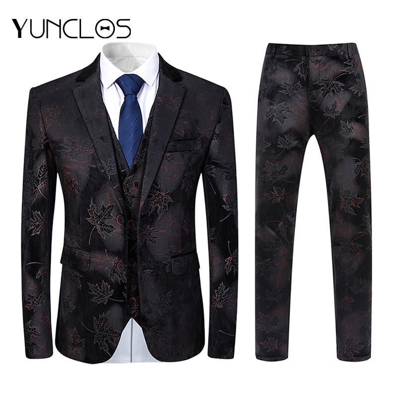 YUNCLOS ternos elegantes 2 terno dos homens Pieces casamento Impresso Slim Fit de luxo para Suits Homens de moda com calças