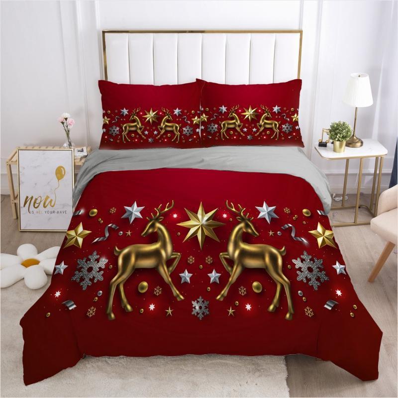 3D Kırmızı Yatak XMAS Nevresim Seti Yorgan ve Kapaklar Yastık Şems Comforther Vaka Noel Geyikler Tasarım Bedclothes ayarlar