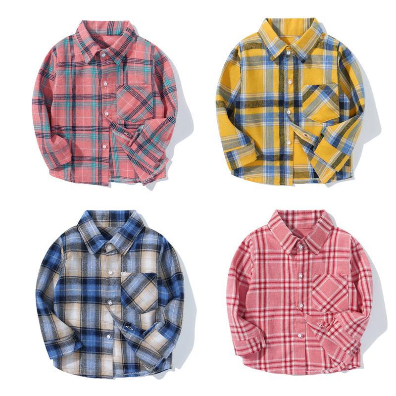 2020 Nova Estilo Meninos camisas manga comprida Camisa Xadrez For Kids Outono Crianças roupas de algodão Casual verificados Camiseta Tops