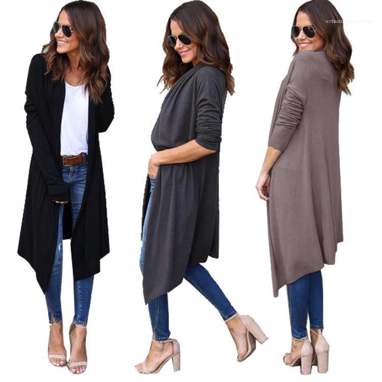 Kadınlar Katı Renk Hırka Triko Gevşek Uzun Kollu Sonbahar Kış Casual Giyim Dişi Tasarımcı Cardign