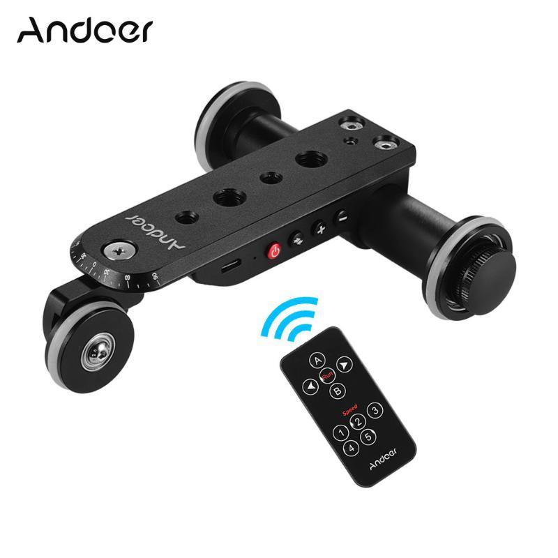 Andoer Aluminiumlegierung Motorvideokamera Dolly Track-Slider + Telefon-Halter für Hero 7/6/5 DSLR-Kamera