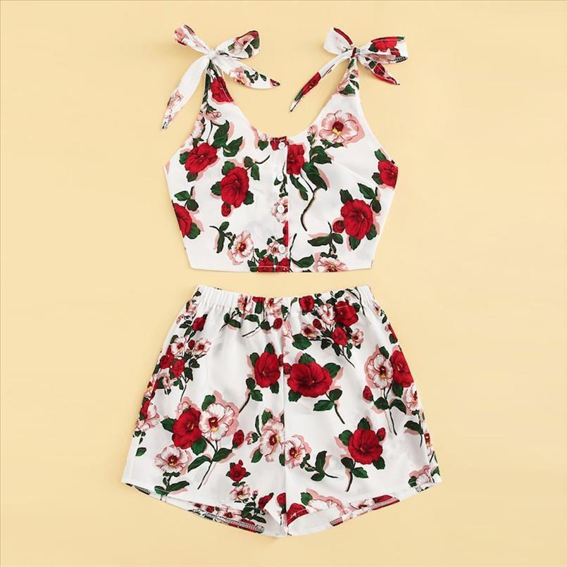 Floral Print Spaghetti Strap 2 Piece Set Women Elegant Crop Top Women Suits Summer Style Women Tracksuit