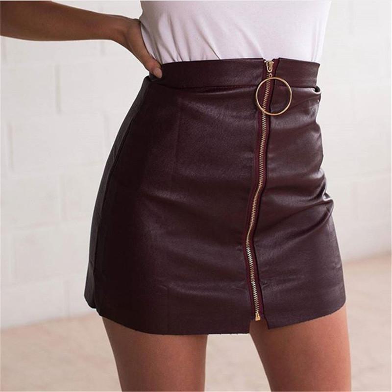 Sommerkleider Frauen PU-Leder-Röcke mit Zipper Fashion Sexy kurzen Röcken Körper Hip Slim Fit Damen