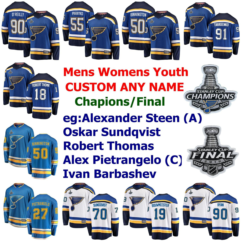 2019 Stanley Cup Champions St Louis Blues Hockey Jerseys Tarasenko Jersey Ryan O'Reilly Binnington Parayko Alex Pietrangelo Custom Steinsted
