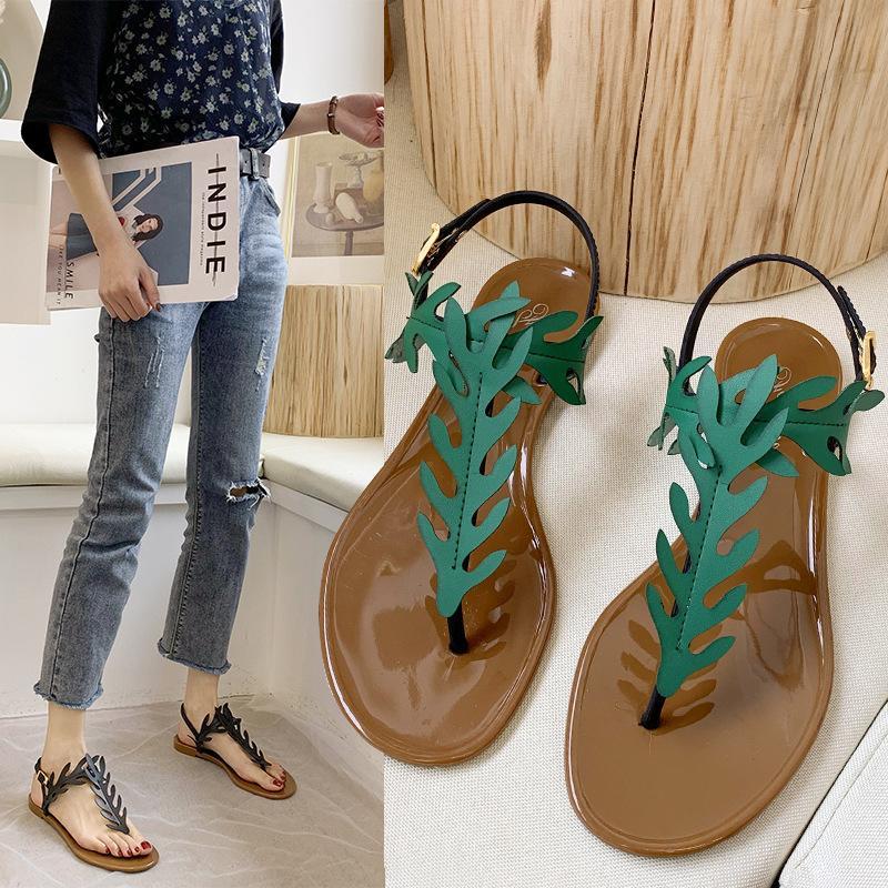 Las mujeres sandalias del estampado leopardo zapatos de verano mujeres de gran tamaño ándalos sandalias planas de verano de las mujeres Zapatos uio90