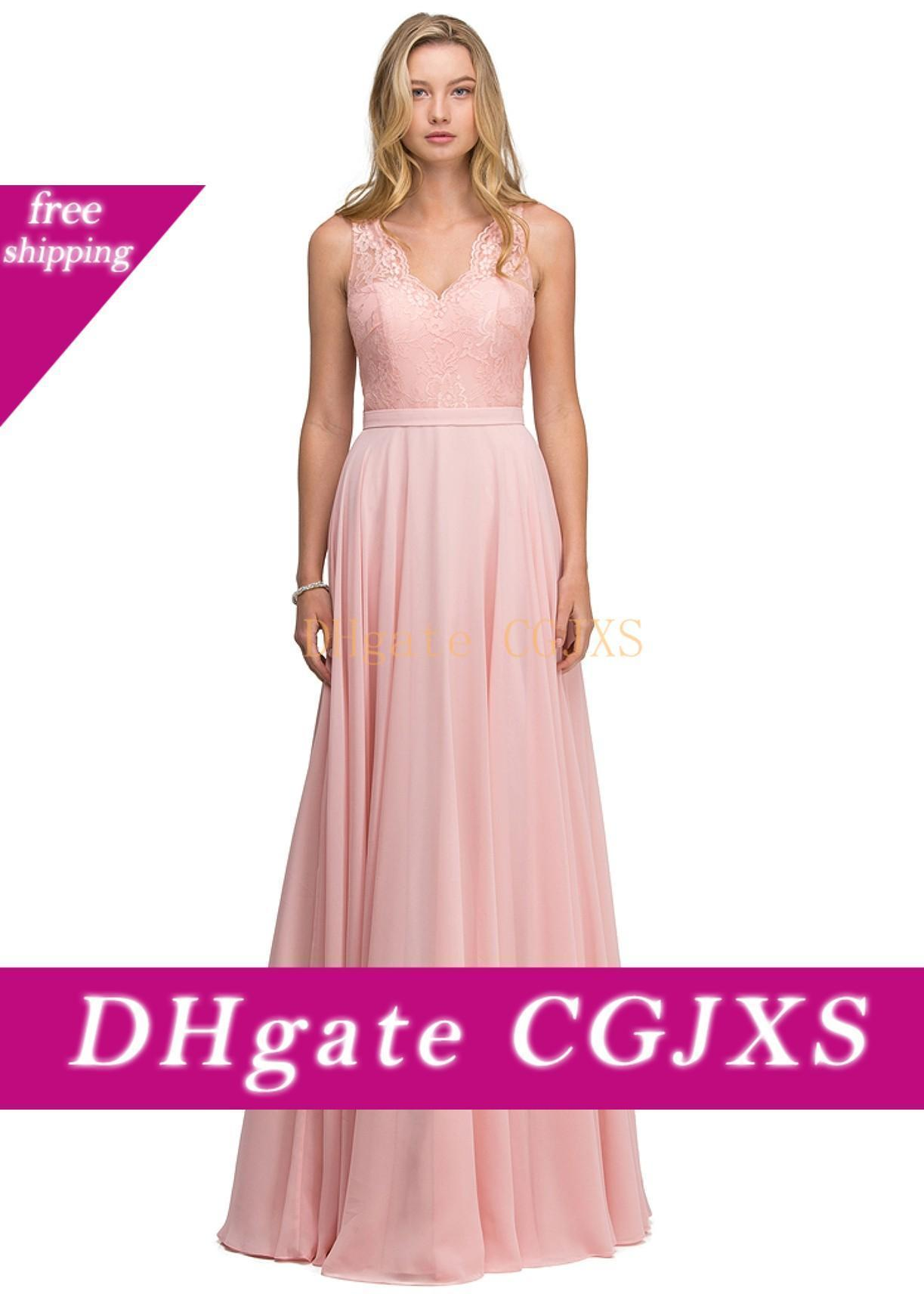 A linha V Neck Prom Dresses Vestidos De Fiesta Elegant Chiffon Lace Evening vestidos longos dama de honra Formal Cocktail Party Dress