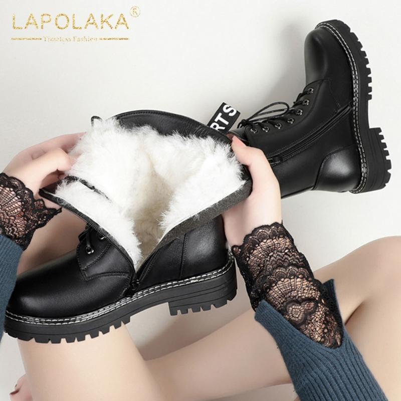 Lapolaka 2020 nuovi arrivi di grande formato 43 dei pattini del cuoio genuino signore caricamenti del sistema femminili Platform Aggiungere stivali di pelliccia Lana signore