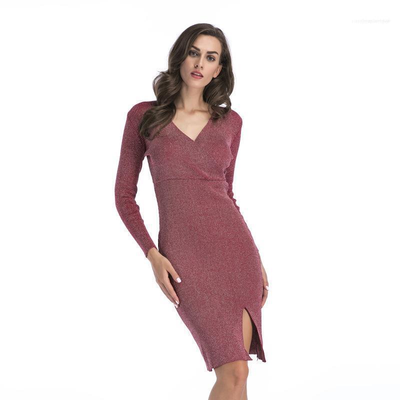 Повседневная одежда Женская осень Дизайнер Bodycon платья V шеи сплошной цвет Разделить с длинным рукавом Женский Одежда Sexy Fashion Style
