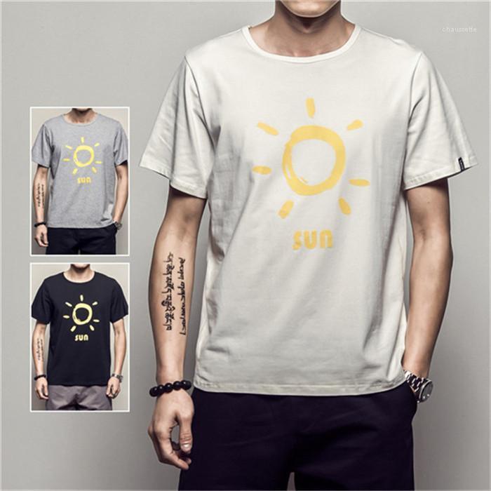 Yaz Kısa Kollu Erkek Spor tişörtleri Artı boyutu Erkekler T Shirt Güneş Harf Desen Gevşek Man Günlük Tişörtler