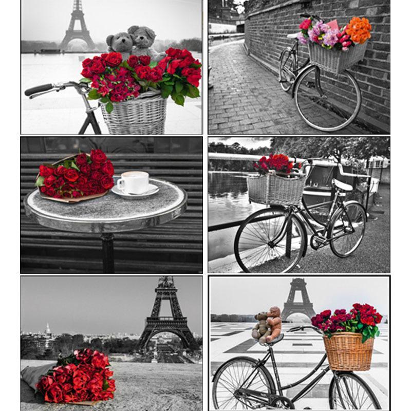5D Алмазная Картина Полного Дрель Красная и черная серия City Tower Red Roses Cross Stitch Алмазной Мозаика вышивка Home Decor подарок