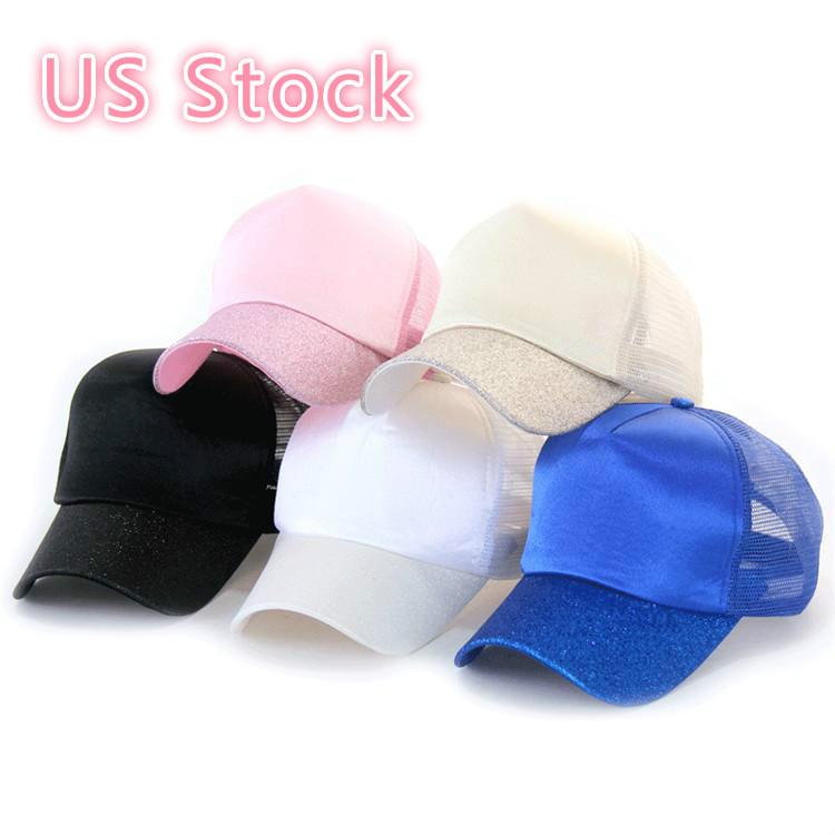 Ponytail Baseball Caps High Messy Bun Hat Ponycaps Adjustable Baseball Cap Mesh Back Outdoor Hats FY7156