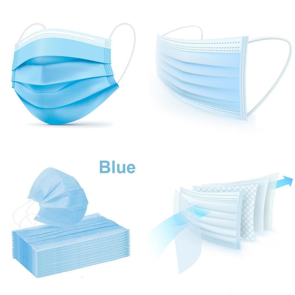 50 / 100pcs Tek Yüz 3 tabakalı Erkek ve kadın (Mavi) 50 adet / kutu L5WP6 için eriyik-üflenmiş kumaş maskeleri ile dokunmamış Maskesi