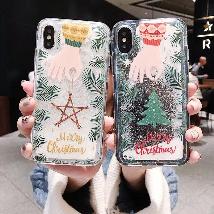 Snow Santa Phone Cover Cute Quickstand Merry Christmas Glitter Flowing Phone Cases for iPhone 7 8 XR XS MAX 11 PRO