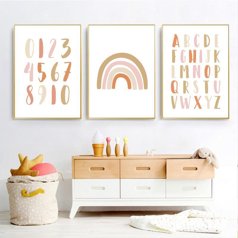 Peintures Moderne Rainbow Alphabet Alphabet Pépinière Art Pictures Toile Peinture Poster Affiche Posters Bébé Filles Chambre Accueil Décoration Pas de cadre