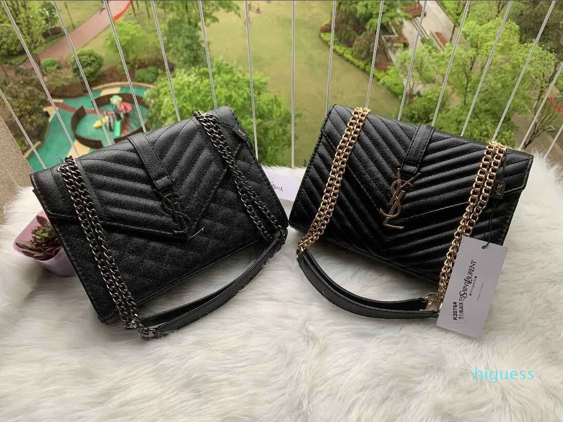 Designer- Messenger Bag Black Sacs à bandoulière en cuir Totes Vintage Femmes Sacs à main d'or dames Sacs à bandoulière chaîne