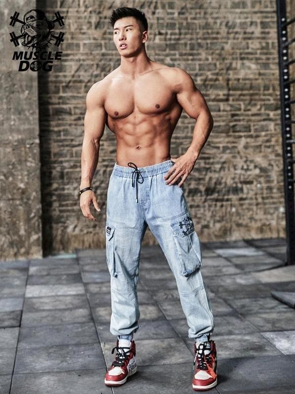 Kas-köpek yay sahip olması gereken bir sarkık ayak gündelik TRAINING tulum spor egzersiz pantolon kot erkekler çok yönlü f492 # olduğu