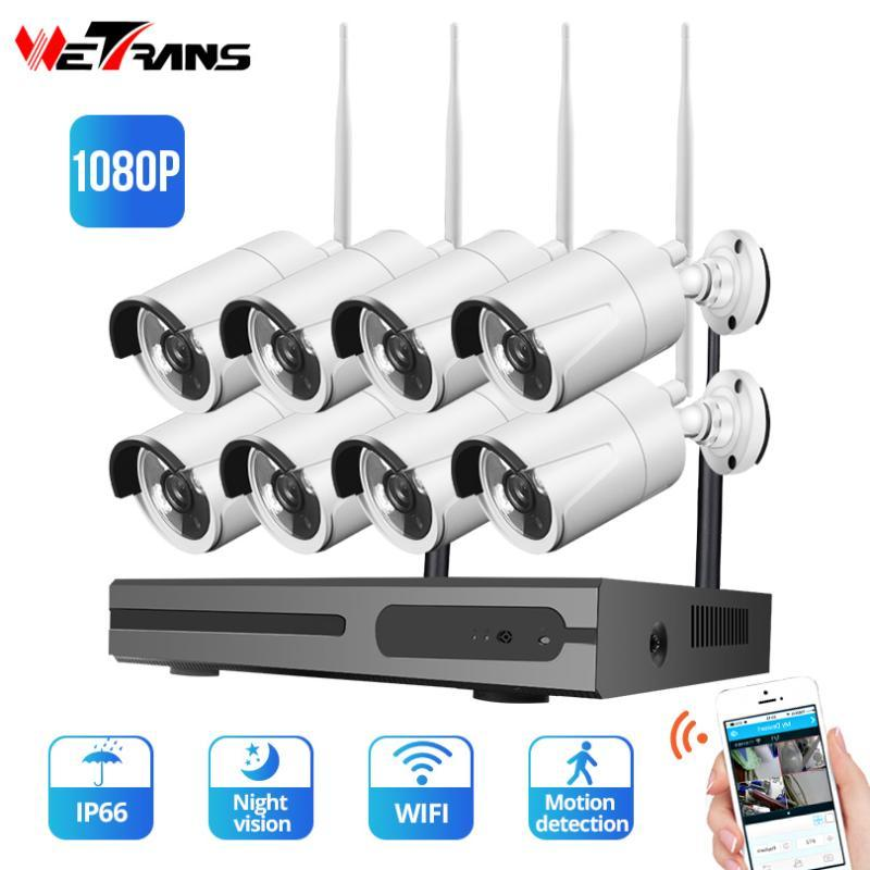 Wetrans 1080P 8CH مراقبة الفيديو نظام كاميرا WIFI NVR في للرؤية الليلية في الهواء الطلق كامل HD CCTV اللاسلكية الأمن المنزل كاميرا كاميرا