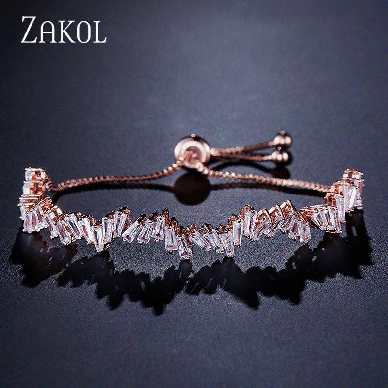 ZAKOL Moda Shinny Cubic Zircon Baguette ajustável Cadeia Bracelet Bangle Mulheres menina para jóia do casamento FSBP161 l35J #