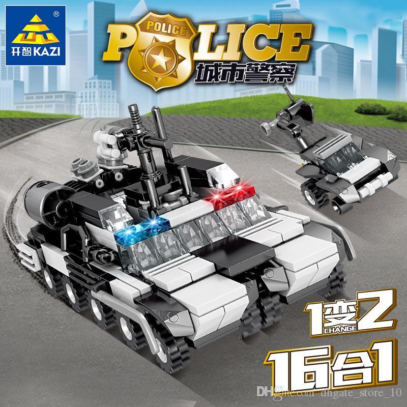 Freigroße Großhandel Kinderbau Block Spielzeug Polizei Serie 3D Modell 16 Modelle 1 Modell 2 Formen 16 in 1 Geschenkdekorationen