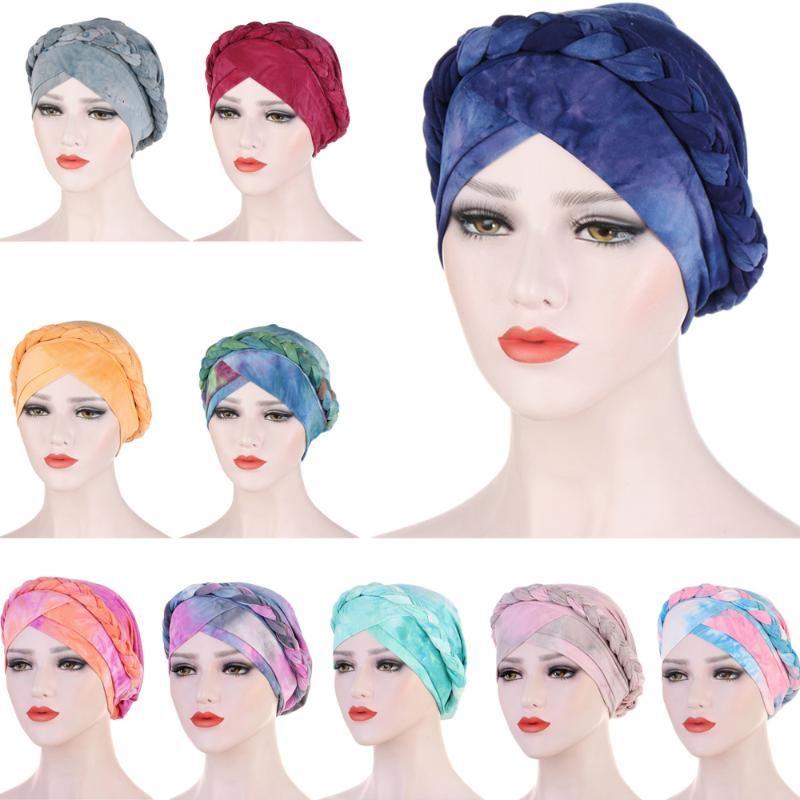 New Tie Dye Printed Turban Cap Muslim-Frauen-Damen Chemo Hut Braid Kopftuch Beanie Mütze islamische Kopfbedeckung Wrap Haarausfall Abdeckung