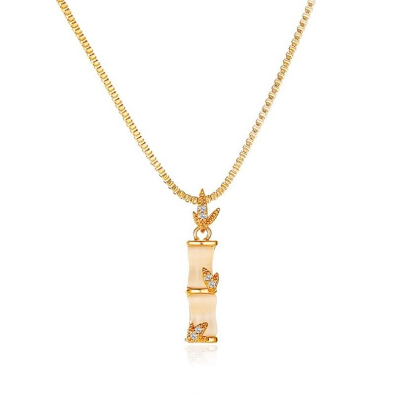 Fashion Women Necklace Pendant Opal Luxury Jewelry Accessory Bamboo Joint Choker Chain Birthday Gift for Girlfriend New Arrival