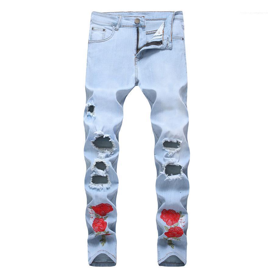 Löcher Designer Herren Jeans Stickerei dünne Gerade Mann Jeans beiläufige lange mittlere Taillen-Knopf Fliegen-Mann-Denim-Hosen