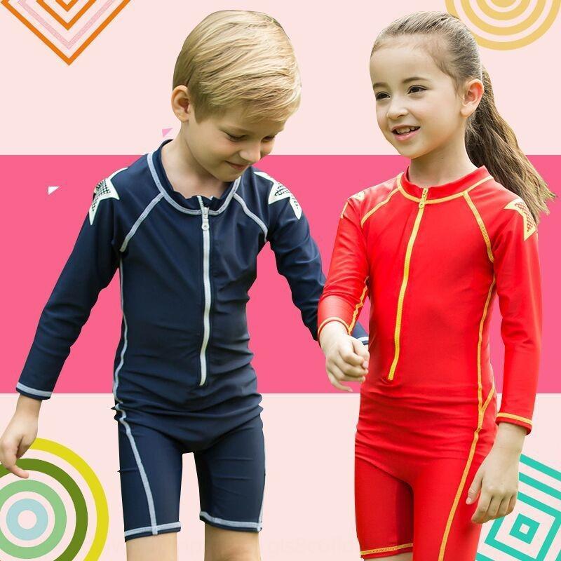 sol à prova de mergulho flutuante surf de manga comprida para crianças nova para o mergulho meninos e meninas Swimsuit de uma peça de maiô apertado praia