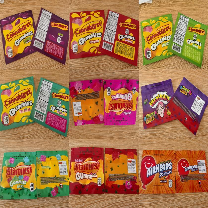 Zipper Bolsa de armazenamento Bag Corda Edibles Retail Cannaburst saco à prova de crianças lerdos mordidas Esvaziar pacote de saco de Gummies Gushers Embalagem Gummies ztXLs