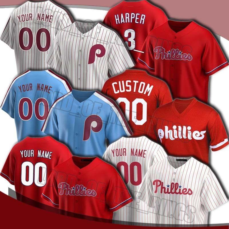 Personalizado Bryce Phillies 3 Harper Jersey 27 Aaron Nola Jerseys Mike Schmidt Rhys Hoskins Jersey Didi Gregorius Jerseys de béisbol Darren Daulton