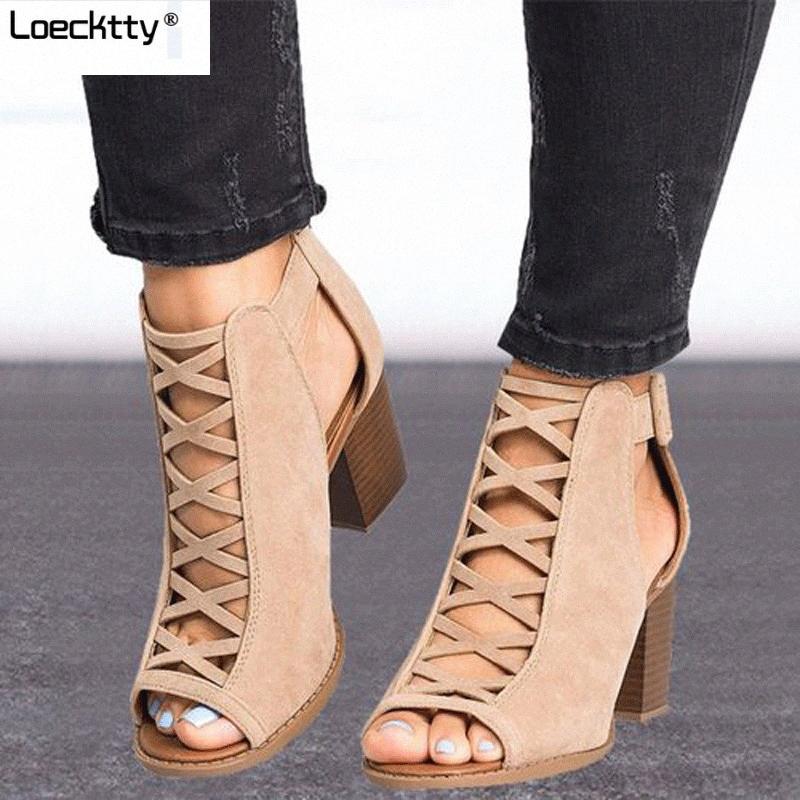 Loecktty 2020 Fashion Women Sandals Verão New Hot feminino peixe Boca Exposed Toe High Heeled Sandals românica Senhoras sapatos rfVx #