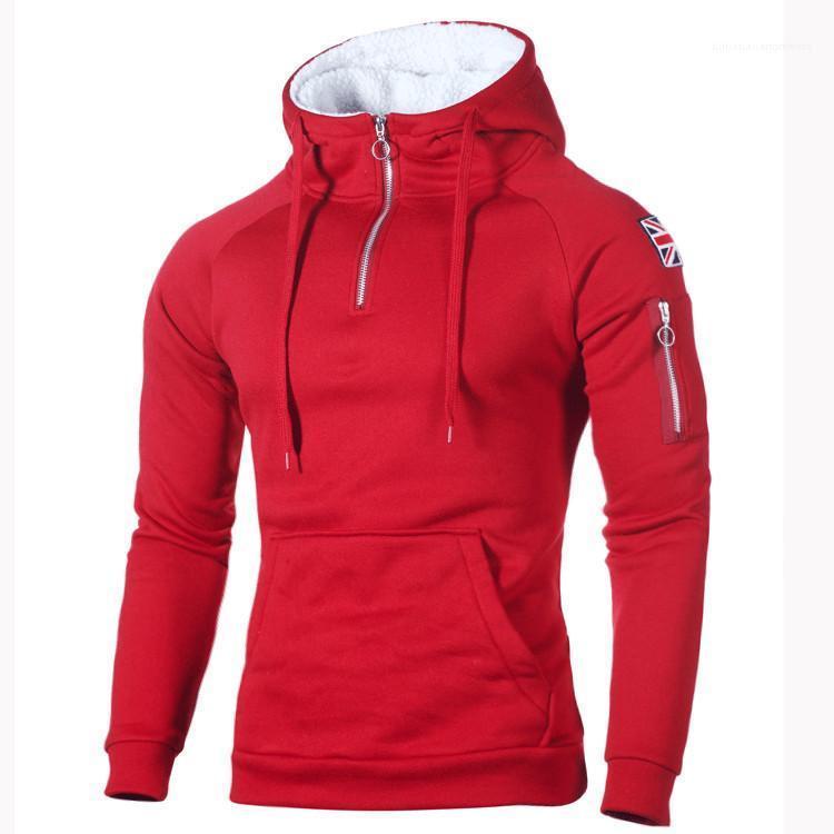 Sleeve Reis Aufkleber Taschen Sweatshirt der neuen Ankunfts-Pullover Herren Pullover Dekorative Zip-Ausschnitt mit Kapuze Langarm