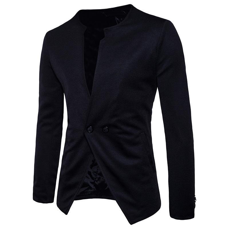 Modische Dropshipping heißen Verkauf Marke Blazer Männer Casual Anzugjacke runde Kragen hochwertige Baumwollhülsen lange Topcoat