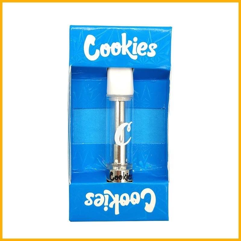 Novos cookies Carrinhos Vape cartucho vazio descartáveis caneta 0,8ml Ceramic Atomizador Runtz inteligente OEM marca personalizada OEM Embalagem Limpar tanque de vidro